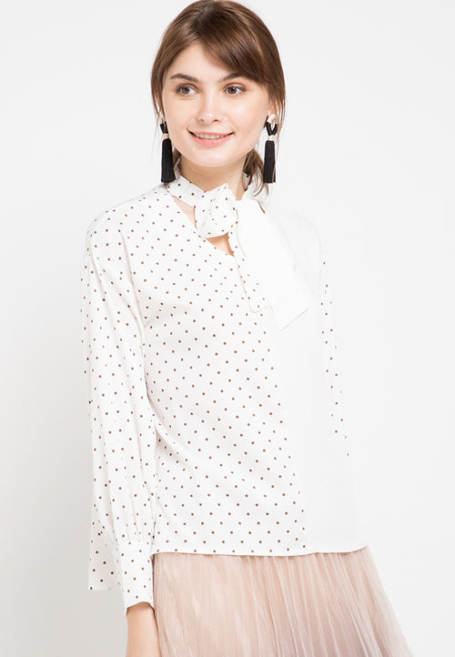 Mineola Two Tone Plain Polkadot Blouse White