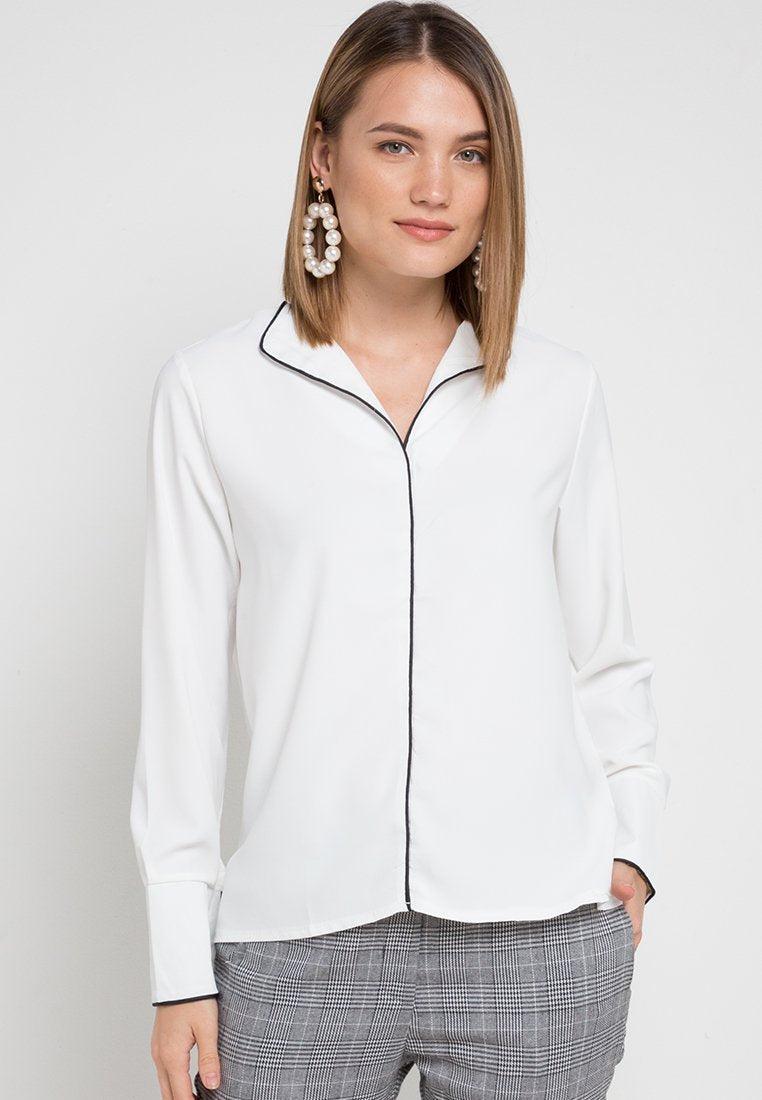 Mineola Contrast Trim Blouse White