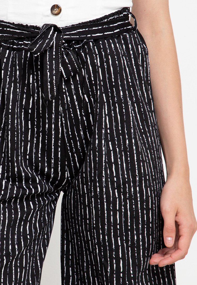 Stripped Cotton Culotte Pants