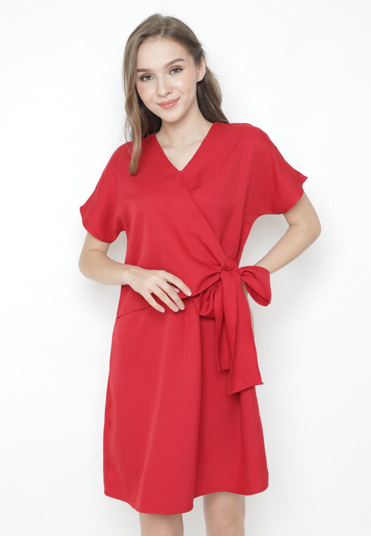 Mineola V Neck Tie Side Midi Dress