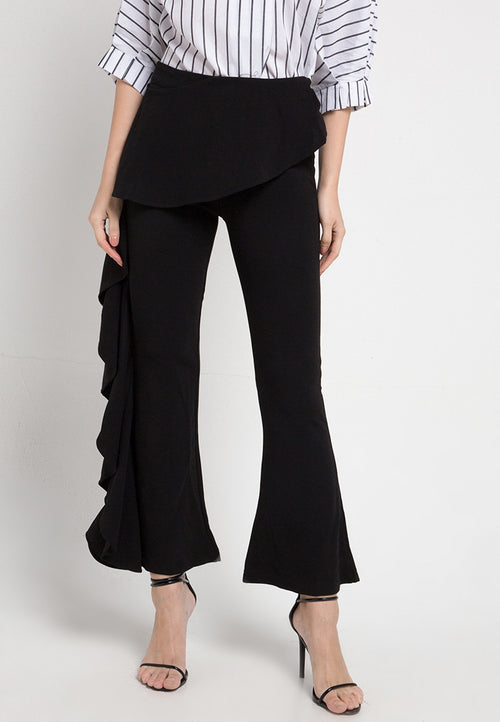 Mineola Ruffled Flared Pants Black