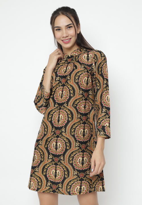 Mineola Stand Collar Batik Dress