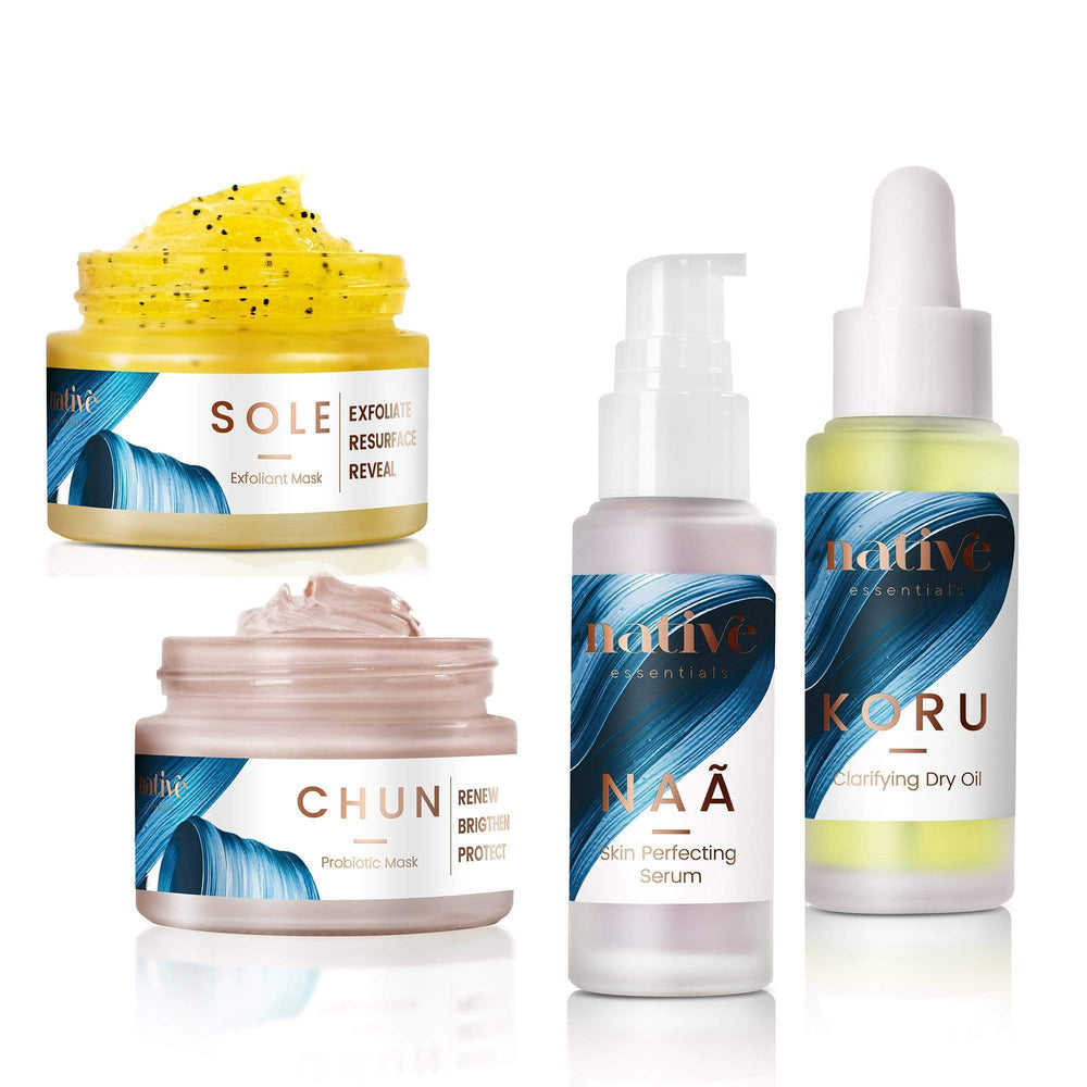 Native Essentials The Routine - Combination + Blemished Skin exfoliant + mask + serum + oil 50 gr + 50 gr + 30 ml + 30 ml