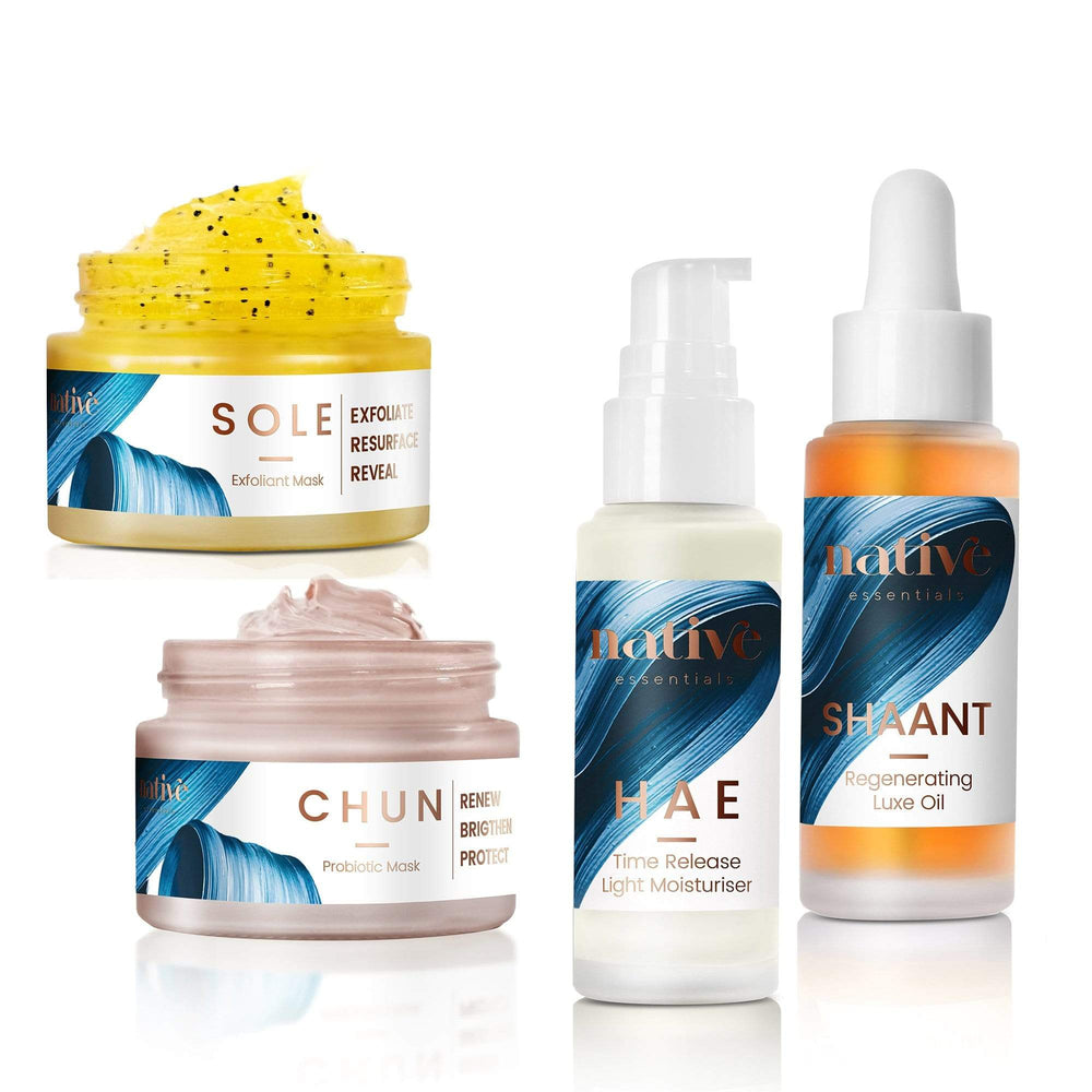 Native Essentials The Routine - Dry + Ageing Skin exfoliant + mask + serum + oil 50 gr + 50 gr + 30 ml + 30 ml