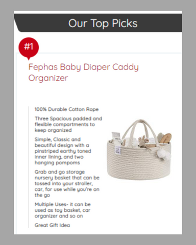 Ode magazine product ranking first diaper caddy from Fephas Store