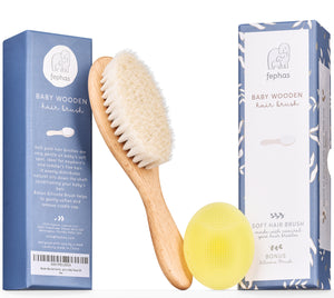 soft wooden hair baby brush and silicone scalp scrubber