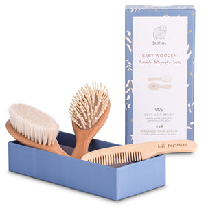 Wooden Baby Hair Brush Set
