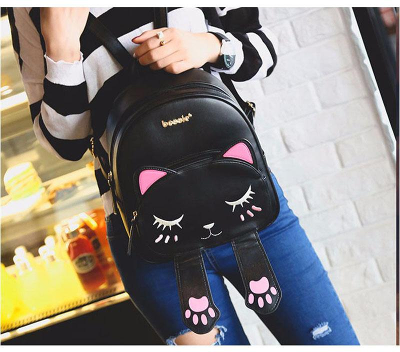 Cat Paw Fashion Backpack. PU Leather. - BagTrack
