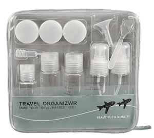 TSA Approved Clear Cosmetic Makeup Liquid Containers With Zipper Bag (12 pieces)