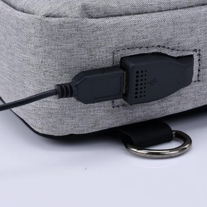 Anti-Theft Chest Bag with USB Port. Canvas. - BagTrack