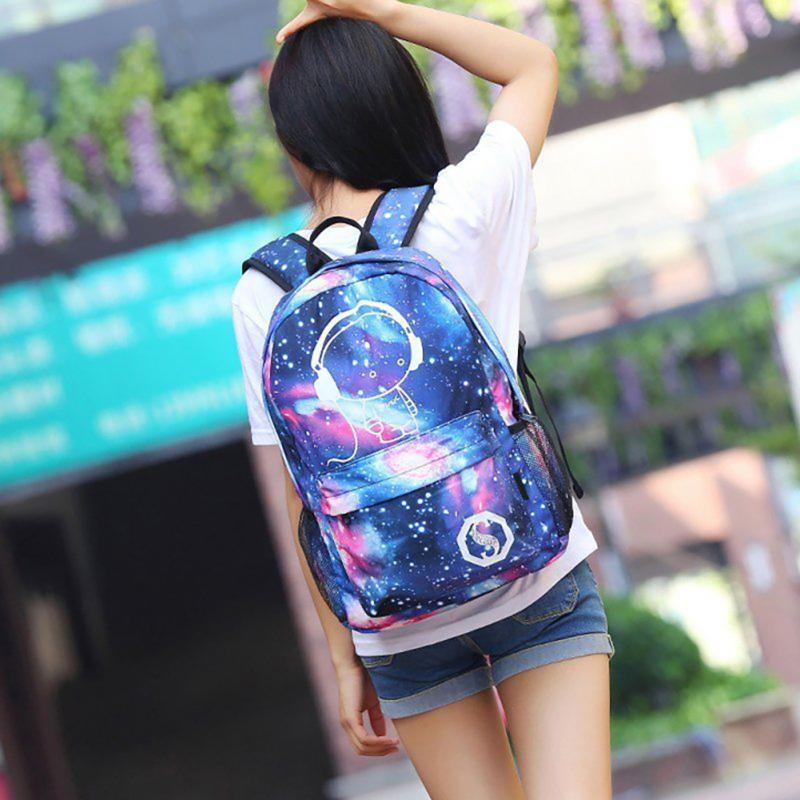 Noctilucent Backpack with USB Port. Nylon. - BagTrack