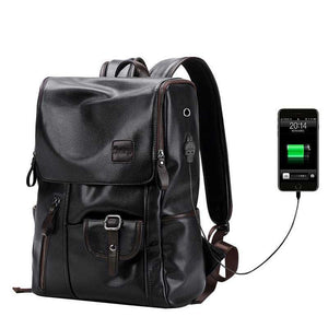 "Unisex Laptop Backpack with USB Port (14""). PU Leather. - BagTrack"