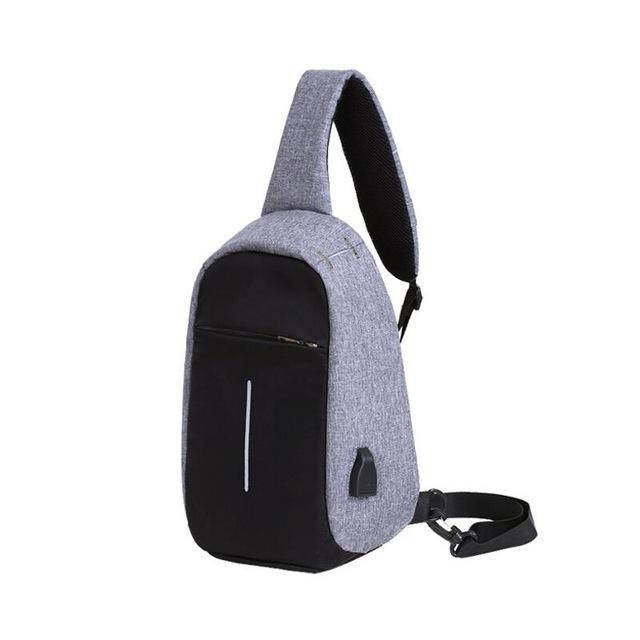 Trendy Chest Bag with USB Port. Nylon. - BagTrack