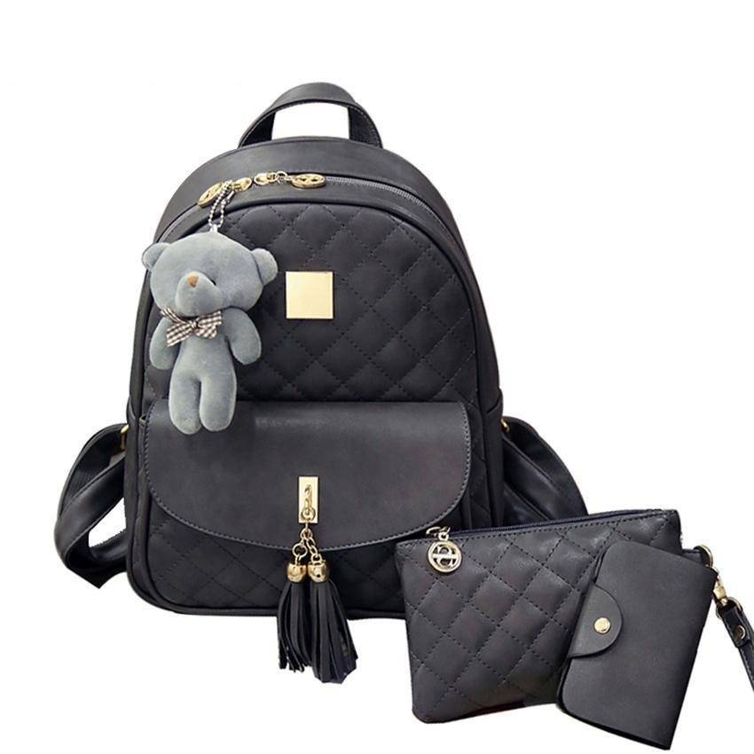3-Pieces Fashion Bearpack Backpack. PU Leather. - BagTrack