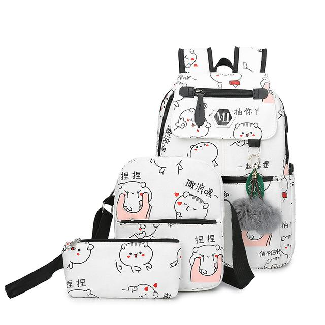 3-Pieces Anime Style Cat Backpack with USB Port. Canvas. - BagTrack