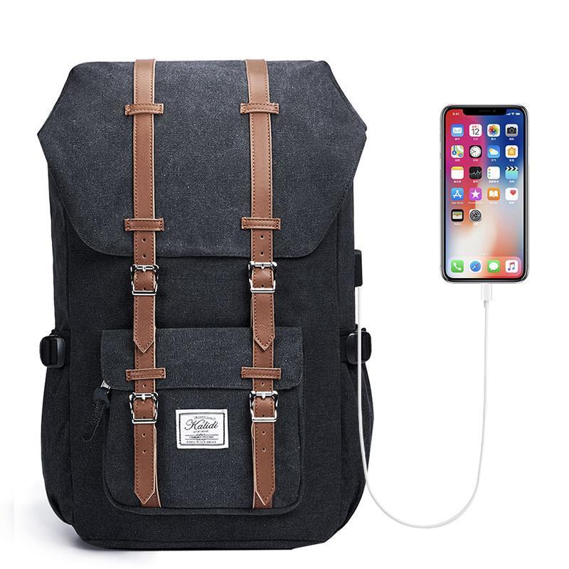 "Iconic Laptop Backpack with USB Port (17.3""). Microfiber. - BagTrack"
