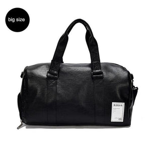 Leather Sport Bag with Shoe Storage. PU Leather. - BagTrack