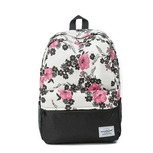 Floral Print Fashion Backpack. Canvas. - BagTrack