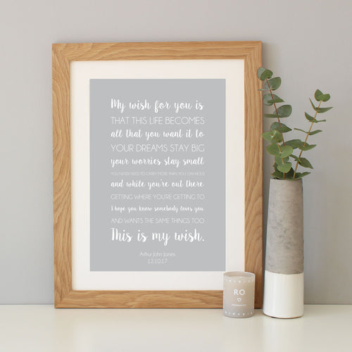 'My Wish For You' Mixed Typography Print