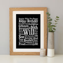 Personalised 16th Birthday Word Art Gift