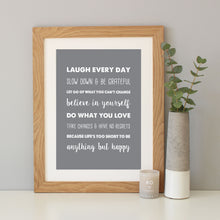 'How To Be Happy' Inspirational Quote Print