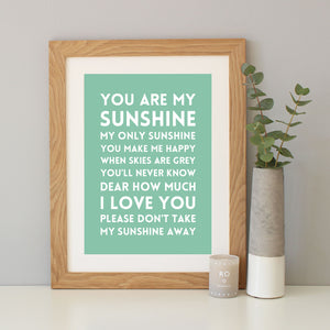 'You Are My Sunshine' Song Lyrics Print