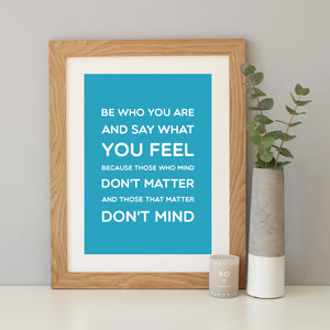 Dr Seuss 'Be Who You Are' Quote Print