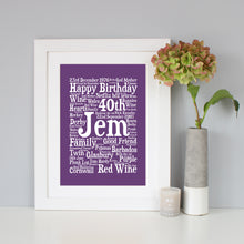 Personalised 40th Birthday Word Art Gift