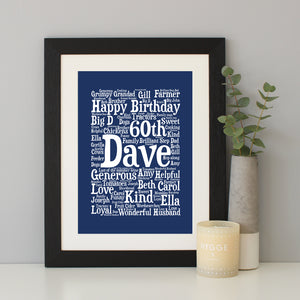 Personalised 60th Birthday Word Art Gift
