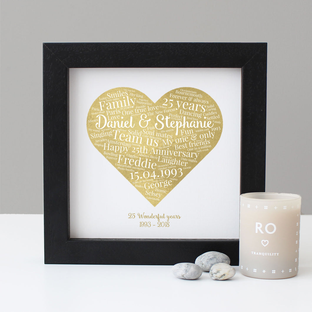 Personalised Watercolour 25th Anniversary Gift
