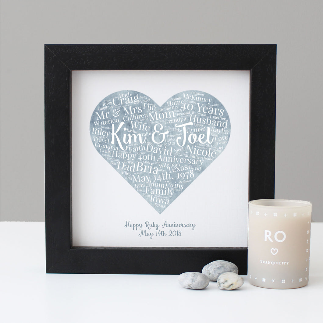 Personalised Watercolour 40th Anniversary Gift