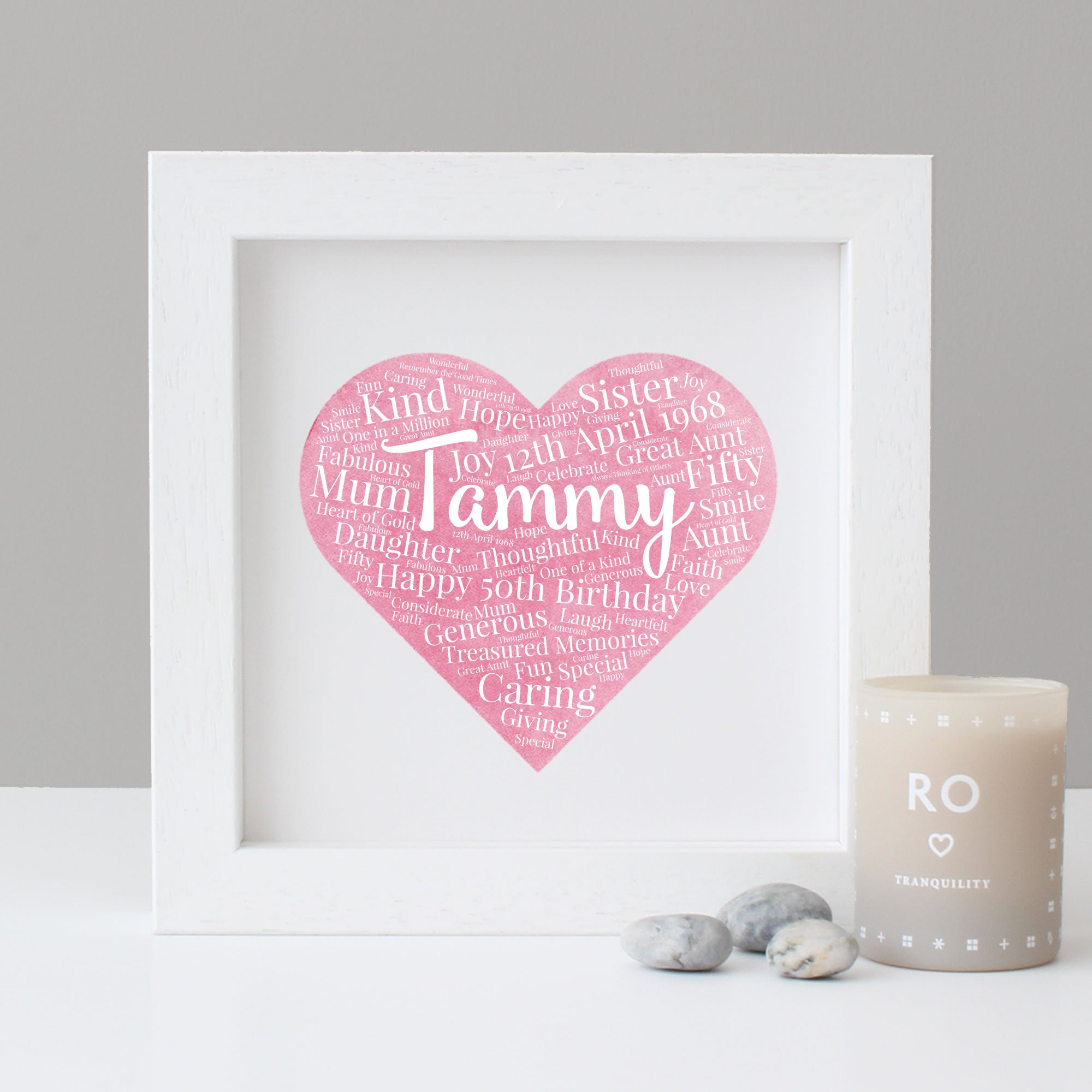 Personalised Watercolour 50th Birthday Gift – Hope & Love Designs