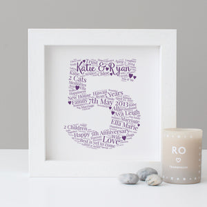 Personalised 5th Anniversary Print