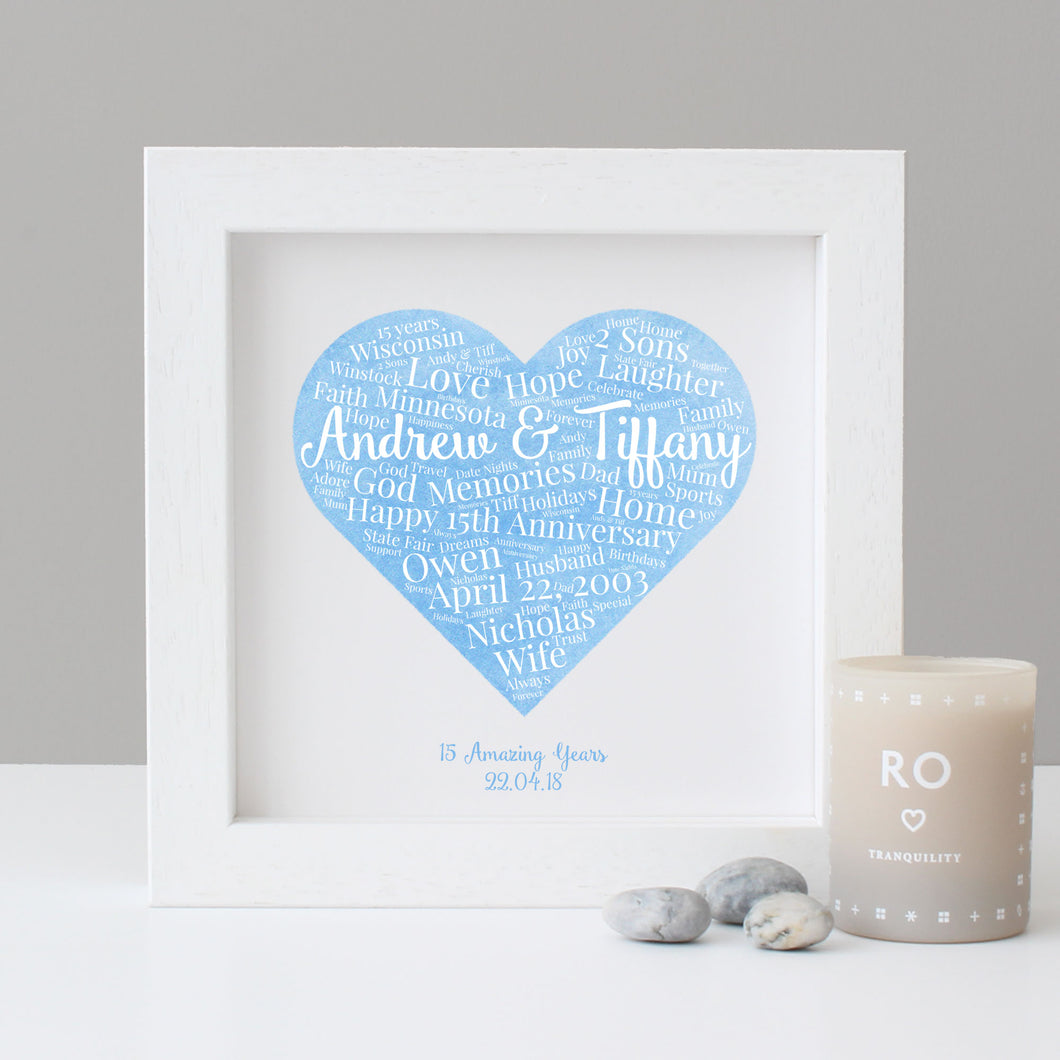 Personalised Watercolour 15th Anniversary Gift