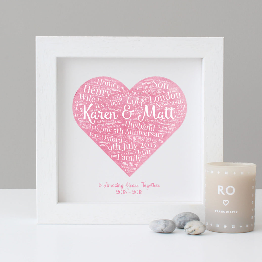 Personalised Watercolour 5th Anniversary Gift