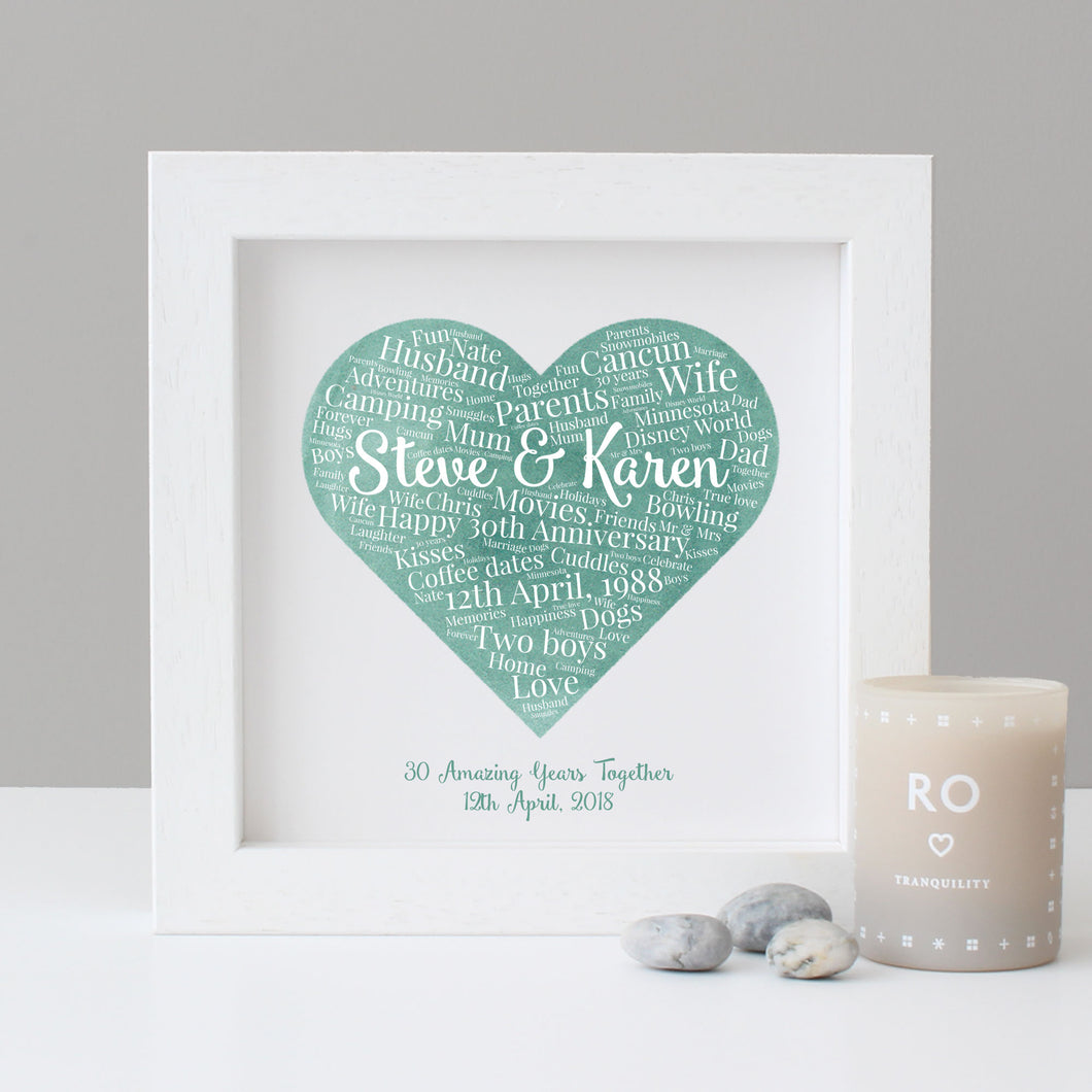 Personalised Watercolour 30th Anniversary Gift