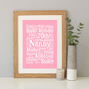 Personalised 70th Birthday Word Art Gift
