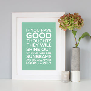 Roald Dahl 'Good Thoughts' Quote Print