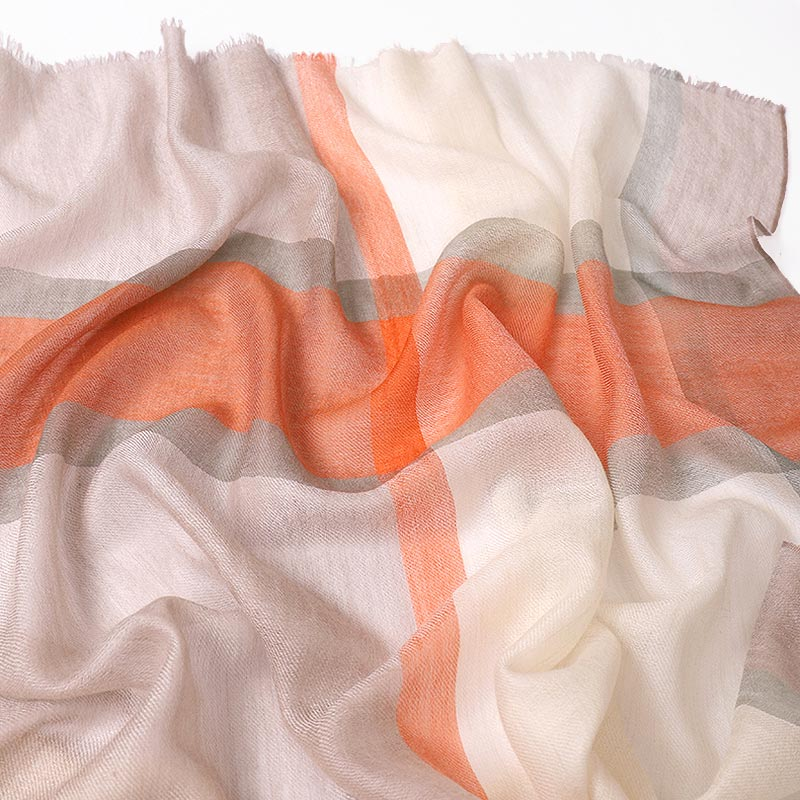 Featherlight Orange Green Cashmere Scarf