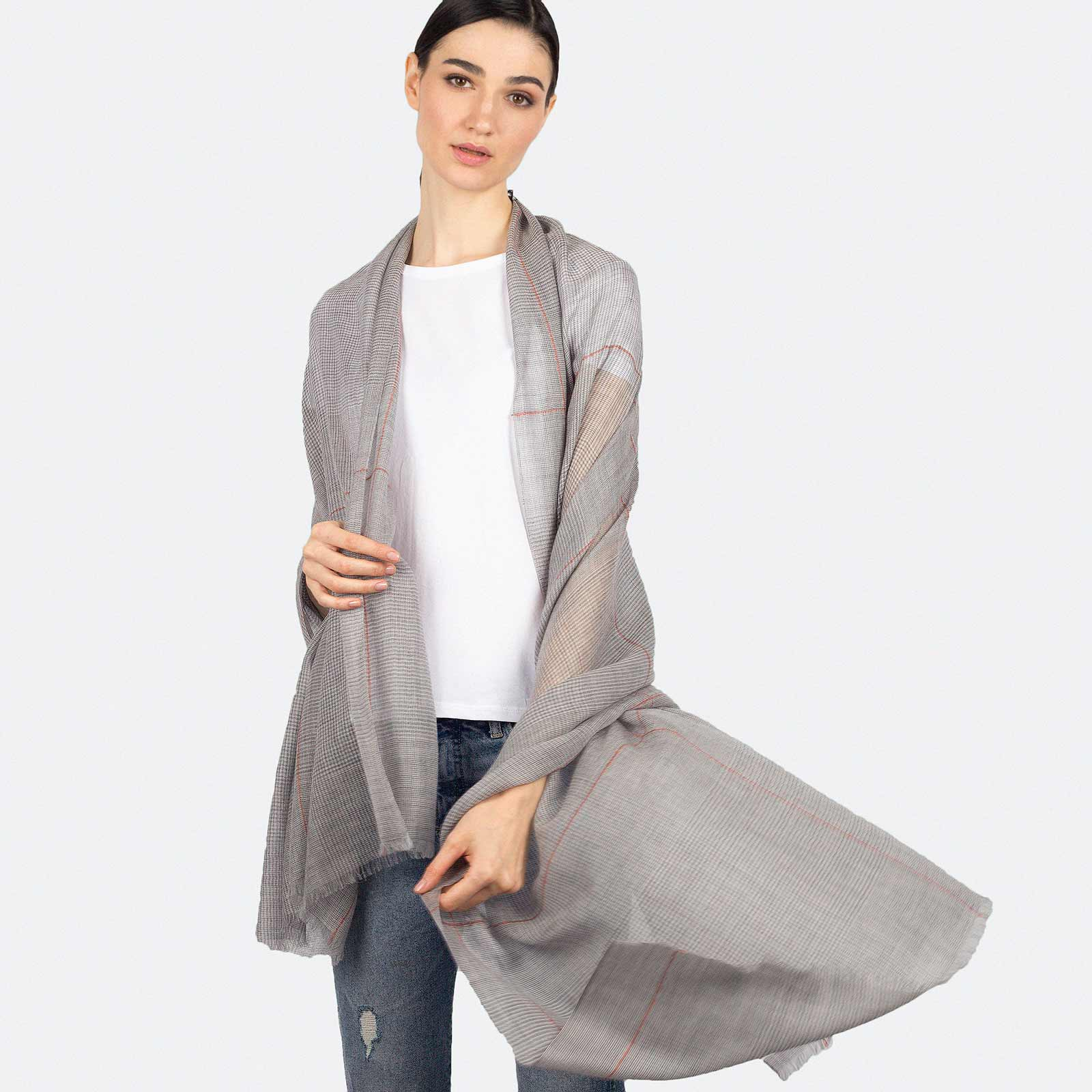Featherlight Light Gray Plaid Cashmere Scarf