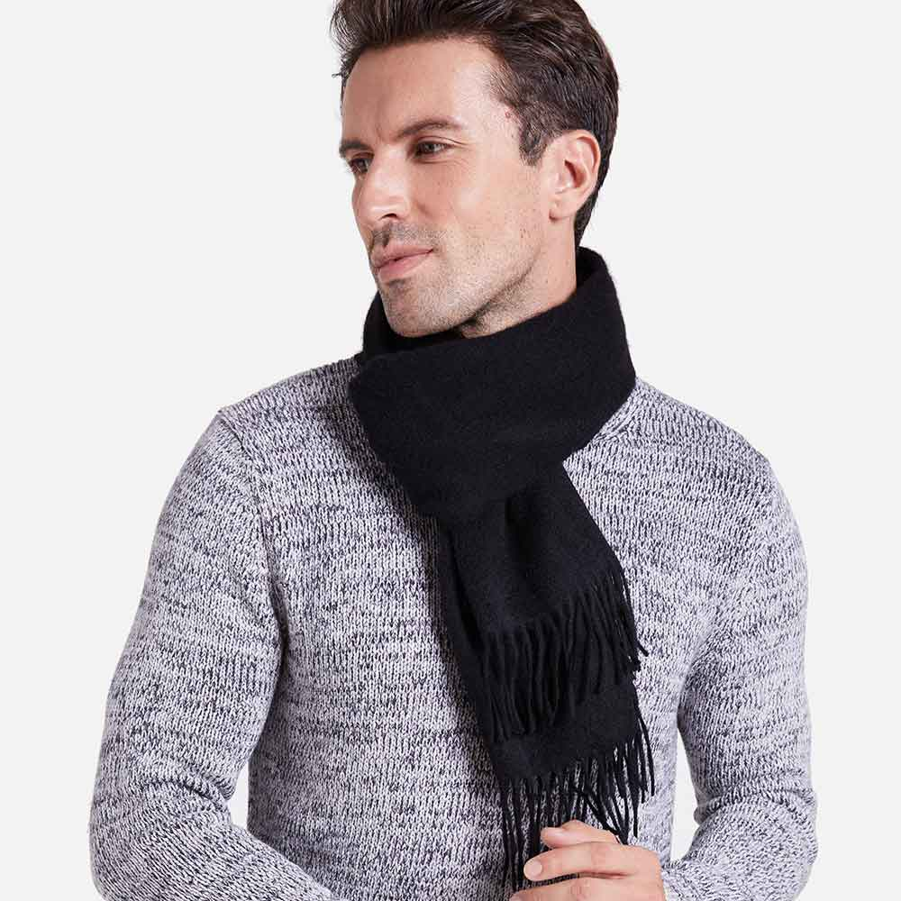 Black Mens Cashmere Scarf