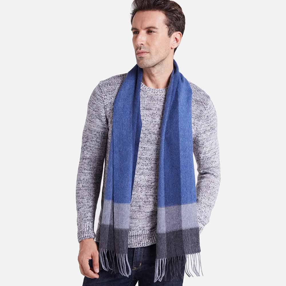 Blue Gray Basic Mens Cashmere Scarf