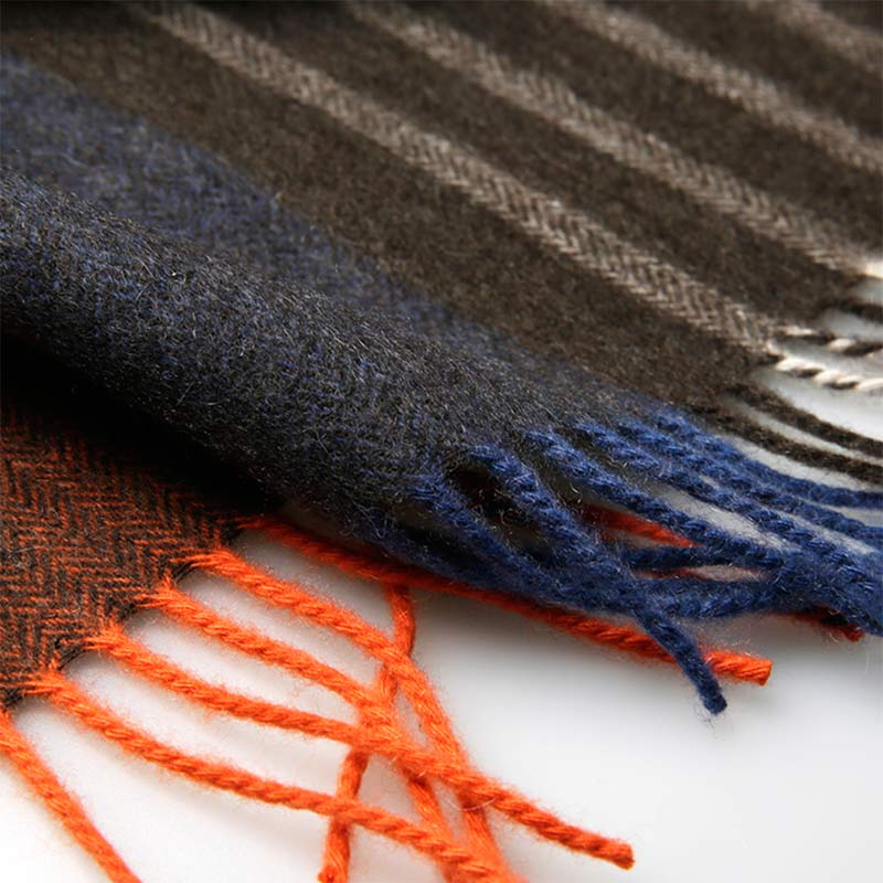 Orange Gray Stripe Mens Cashmere Scarf
