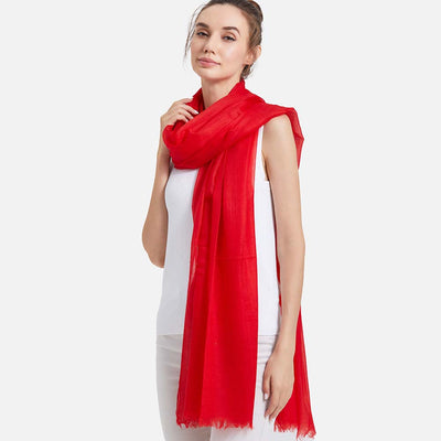 Featherlight Red Cashmere Scarf