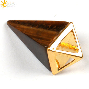 Bamboo Kitty  Lovers Reiki Chakra Pyramid Pendulum Natural Stone Necklace Pendant European Jewelry Hexagon Fashion Crystal Pillar E103