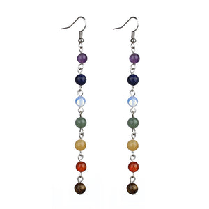 Bamboo Kitty Women Earrings 7 Chakra Beads Yoga Reiki Rainbow Round Natural Stone Long Drop Silver Color Earrings Pendientes Mujer Moda