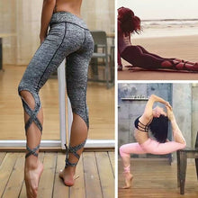 Bamboo Kitty Fashion Fitness Women Leggings Criss Cross Bandage Sporting Yuga Pants Woman Activewear Breathable Workout Leggings New Arrival