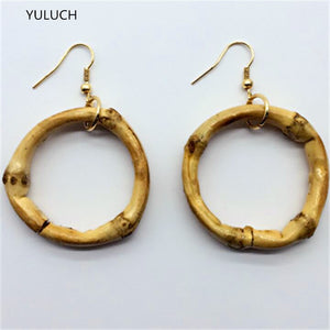 pair  latest design Unfinished Tassel Round hollow  Bamboo earrings jewelry earring  personality latest african wood earrings