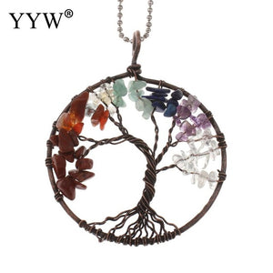 Bamboo Kitty Charm Lucky Multicolor 7 Chakra Tree Of Life Semi-precious Stone Necklaces For Women Healing Crystal Natural Stone Necklace