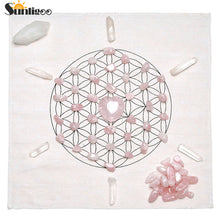 Bamboo Kitty Chakra Crystal Healing Grids Kit / Includes Grids Altar Cloth Rose Quartz Stones Clear Quartz Crystal Wands Points